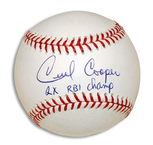 "Autographed Cecil Cooper Baseball Inscribed ""2X RBI Champ"" PSM-Powers Sports Memorabilia"