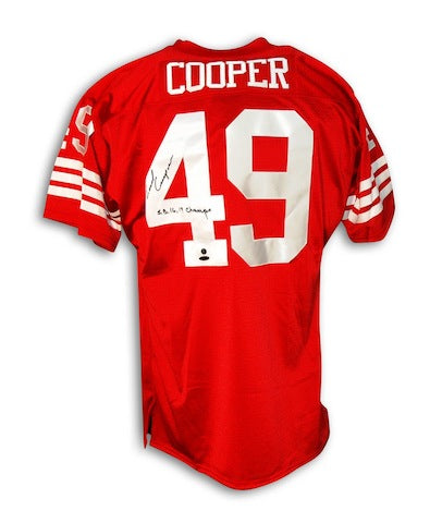 "Autographed Earl Cooper San Francisco 49ers Throwback Jersey Inscribed ""SB 16,19 Champs"" PSM-Powers Sports Memorabilia"