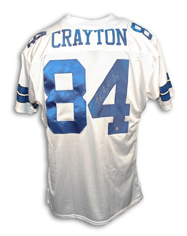 Autographed Patrick Crayton Dallas Cowboys White Throwback Jersey PSM-Powers Sports Memorabilia