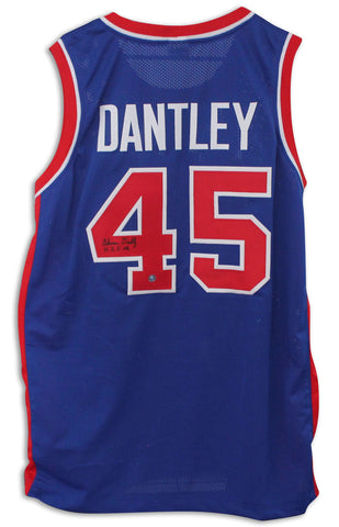 "Adrian Dantley Detroit Pistons Autographed Blue Jersey Inscribed ""HOF 08"" PSM-Powers Sports Memorabilia"