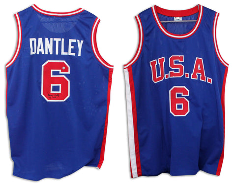 Adrian Dantley Team USA Autographed Blue Jersey Inscribed