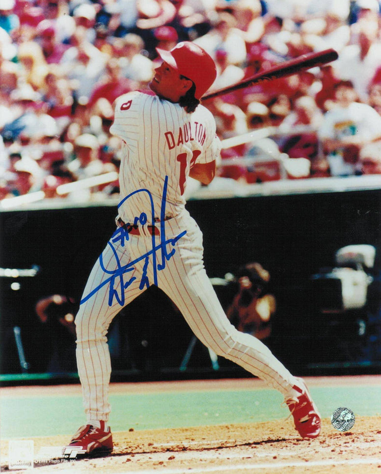 Darren Daulton Philadelphia Phillies Autographed 8x10 Photo -Swing- PSM-Powers Sports Memorabilia