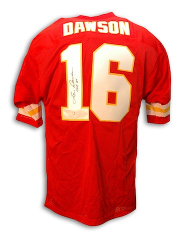 "Autographed Len Dawson Kansas City Chiefs Throwback Red Jersey Inscribed ""HOF 87"" PSM-Powers Sports Memorabilia"