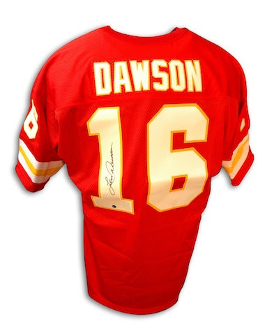 Autographed Len Dawson Kansas City Chiefs Throwback Red Jersey PSM-Powers Sports Memorabilia