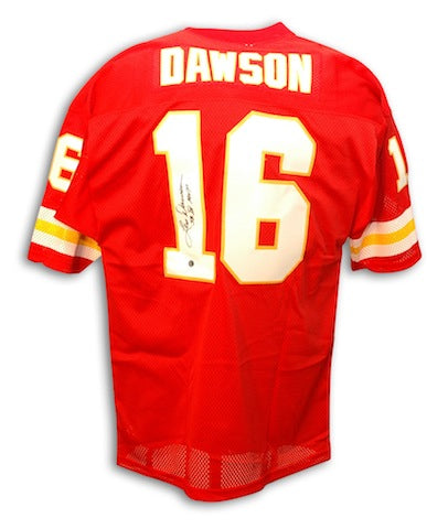 Autographed Len Dawson Kansas City Chiefs Throwback Red Jersey Inscribed SB IV MVP PSM-Powers Sports Memorabilia