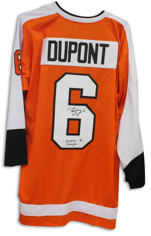 "Andre Dupont Philadelphia Flyers Autographed Orange Jersey Inscribed ""Moose & 2X SC Champs"" PSM-Powers Sports Memorabilia"