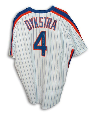 "Autographed Lenny Dykstra New York Mets White Pinstripe Majestic Jersey Inscribed ""1986 WS Champs"" PSM-Powers Sports Memorabilia"