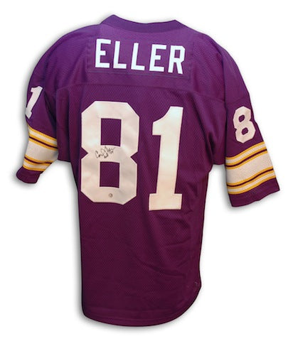 Autographed Carl Eller Minnesota Vikings Throwback Purple Jersey PSM-Powers Sports Memorabilia
