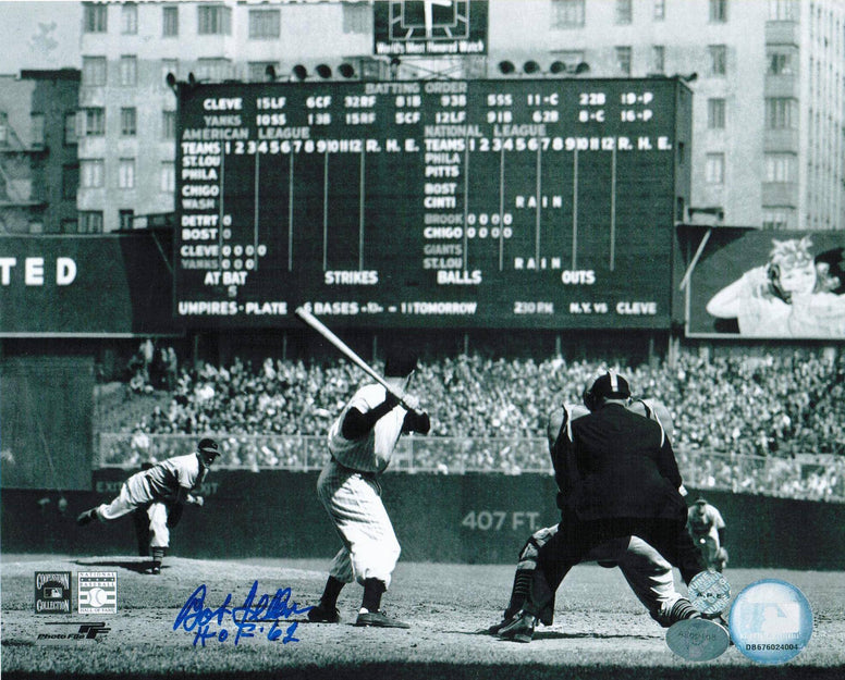 "Bob Feller Cleveland Indians Autographed 8x10 Photo Inscribed ""HOF 61"" -vs the Yankees- PSM-Powers Sports Memorabilia"