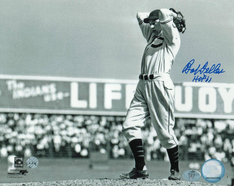 "Bob Feller Cleveland Indians Autographed 8x10 Photo Inscribed ""HOF 61"" -Windup- PSM-Powers Sports Memorabilia"