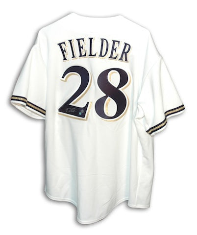 Autographed Prince Fielder Milwaukee Brewers White Majestic Jersey PSM-Powers Sports Memorabilia