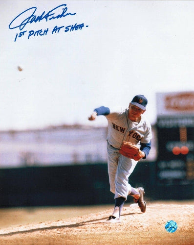 "Jack Fisher New York Mets Autographed 8x10 Photo Inscribed ""1st Pitch at Shea"" PSM-Powers Sports Memorabilia"