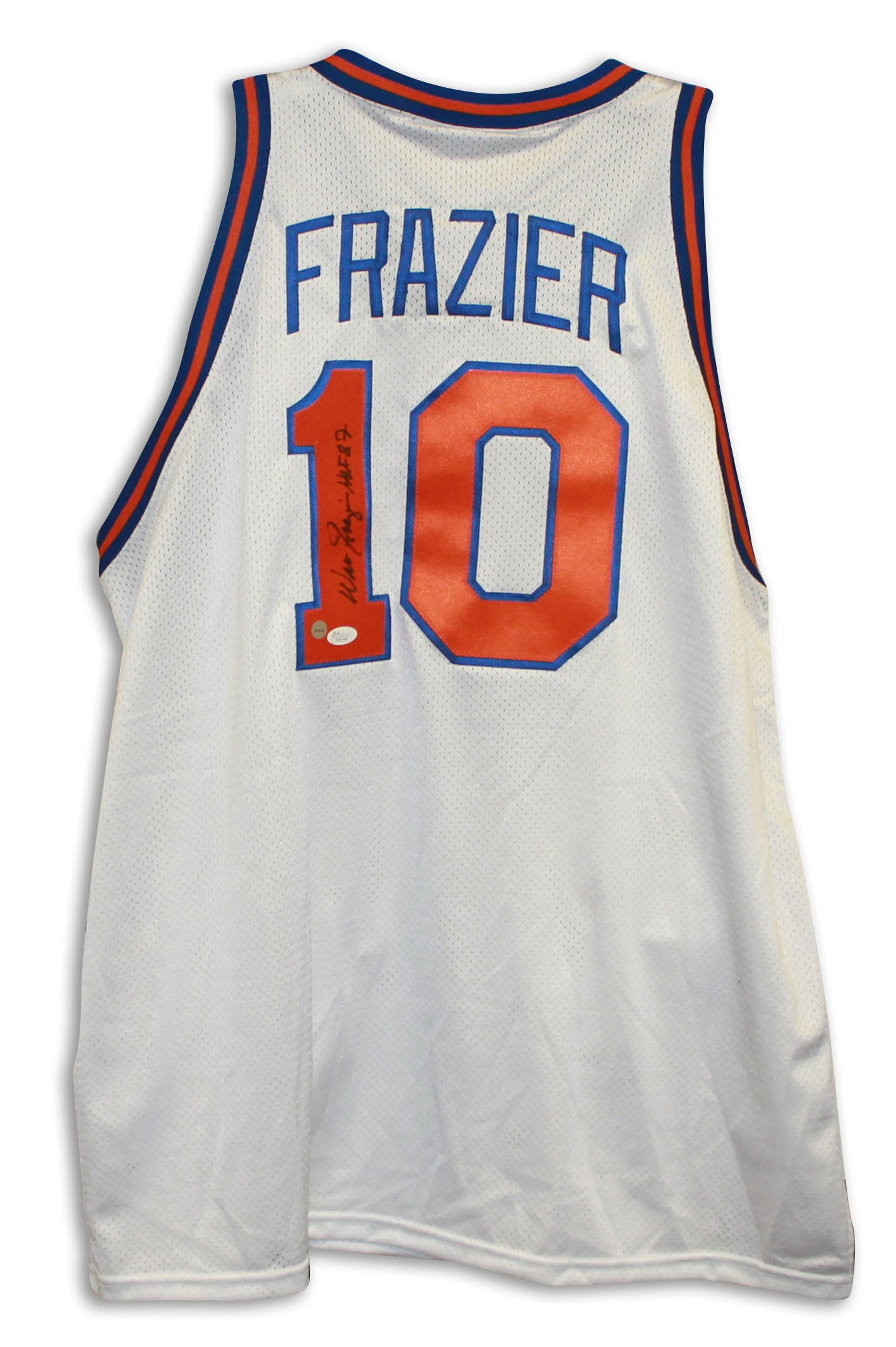 huge discount 2fdd4 4041e Walt Frazier New York Knicks Autographed White Throwback Jersey Inscribed