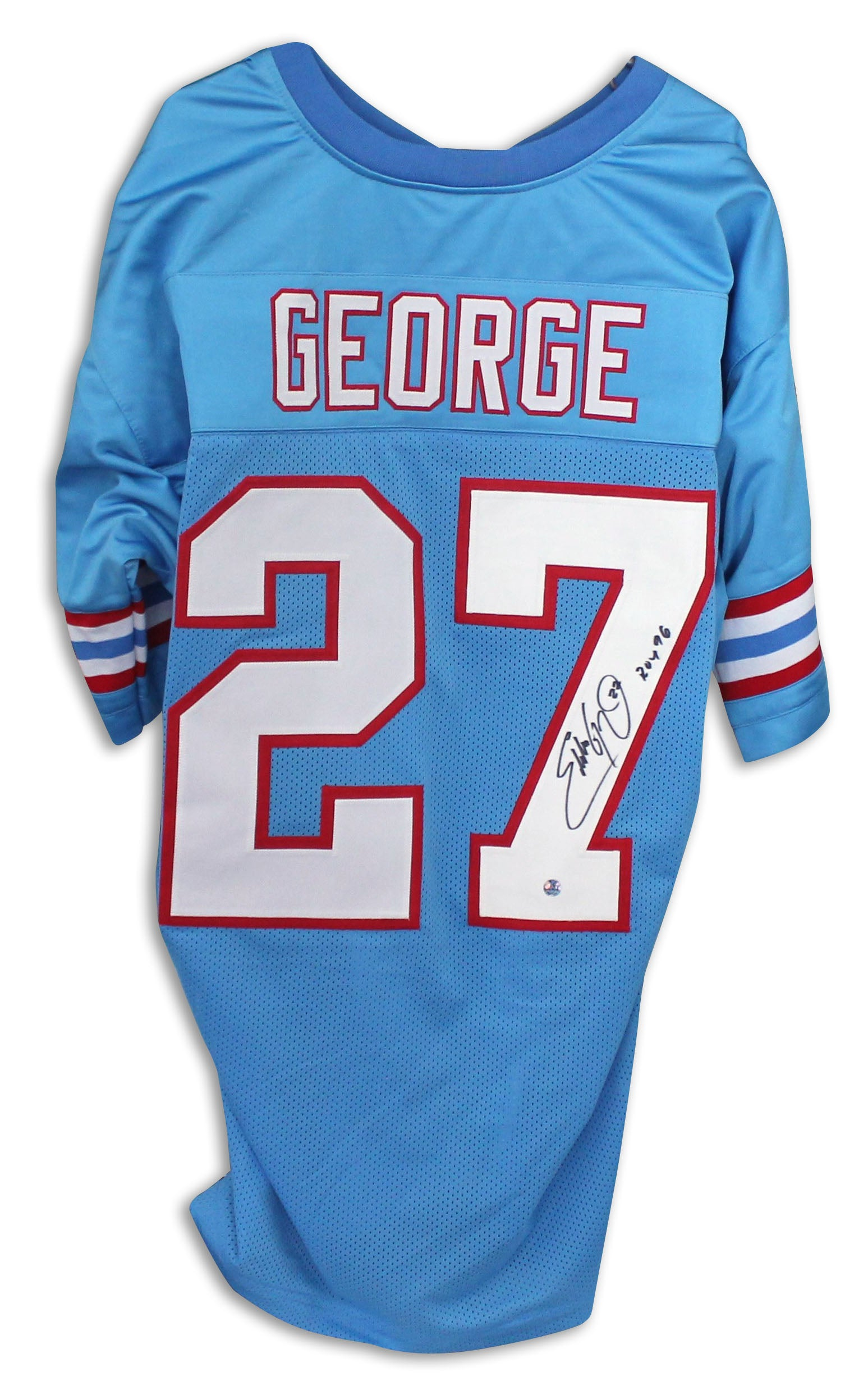 timeless design b95ed 56a2c Eddie George Houston Oilers Autographed Blue Jersey Inscribed ROY 96