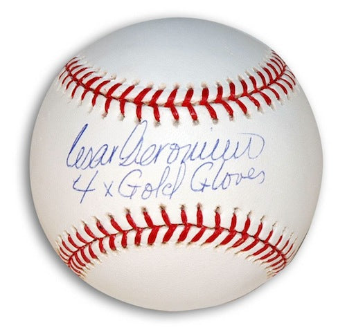 "Autographed Cesar Geronimo MLB Baseball Inscribed ""4X Gold Gloves"" PSM-Powers Sports Memorabilia"