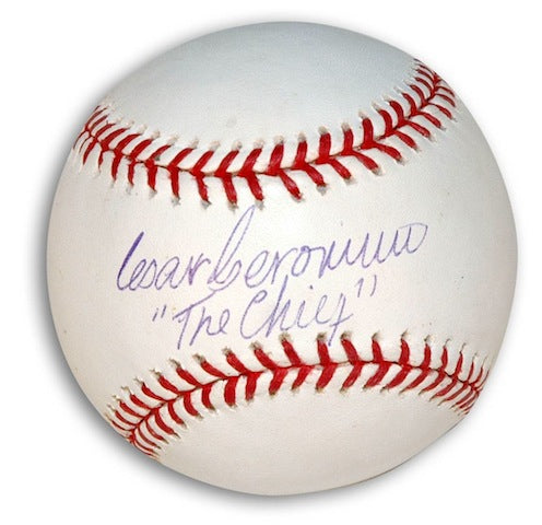 "Autographed Cesar Geronimo MLB Baseball Inscribed ""Chief"" PSM-Powers Sports Memorabilia"