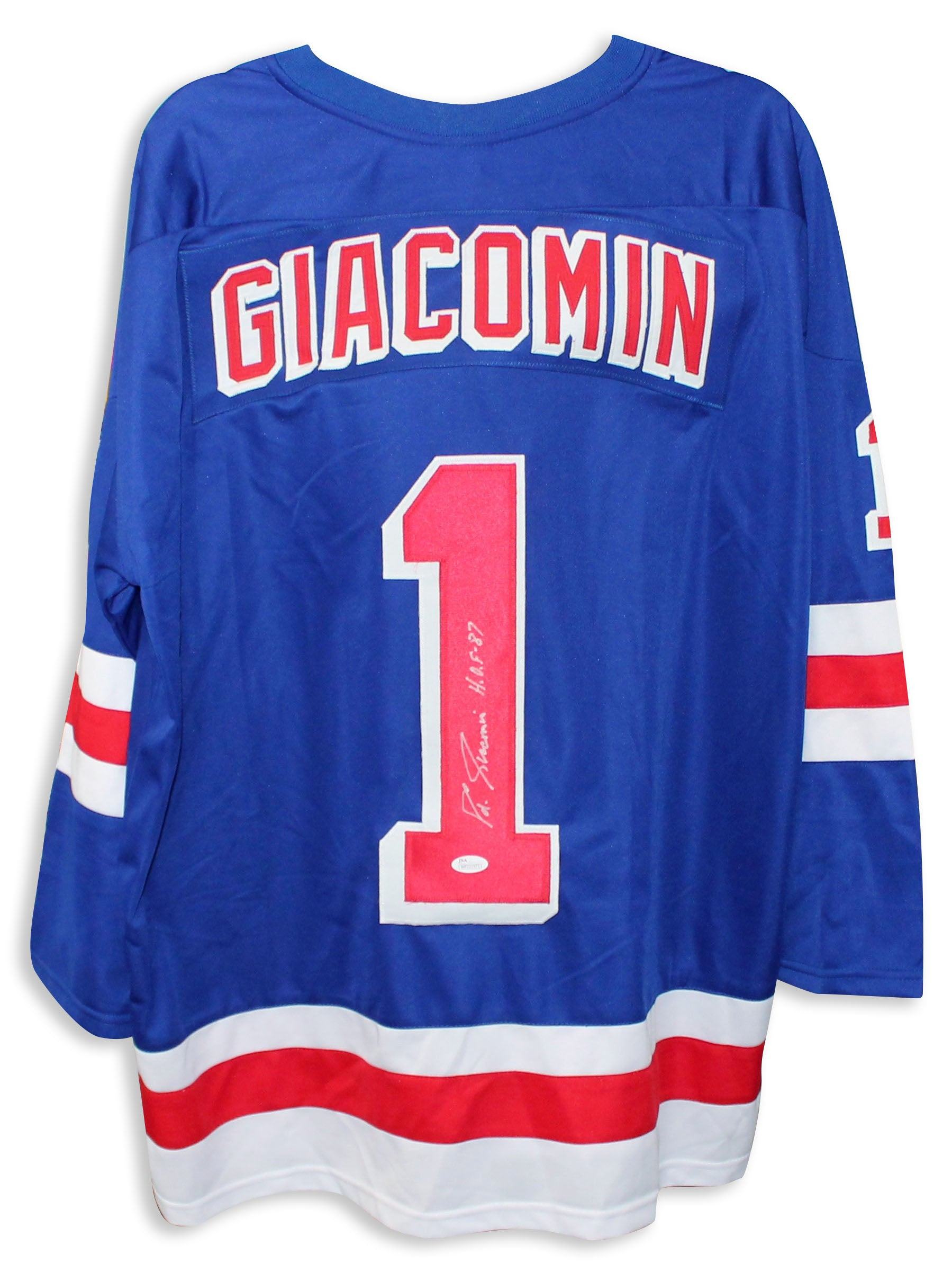 "Eddie Giacomin New York Rangers Autographed Blue Jersey Inscribed ""HOF 87"" PSM-Powers Sports Memorabilia"