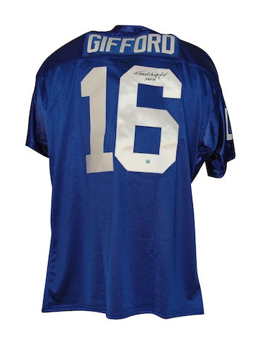 "Autographed Frank Gifford New York Giants Blue Throwback Jersey inscribed ""HOF 77"" PSM-Powers Sports Memorabilia"