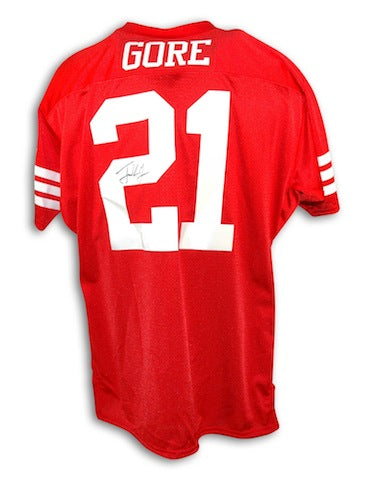 Autographed Frank Gore San Francisco 49ers Red Throwback Jersey PSM-Powers Sports Memorabilia
