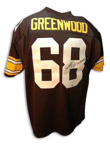 Autographed L.C. Greenwood Pittsburgh Steelers Throwback Jersey Inscribed 4X SB Champs PSM-Powers Sports Memorabilia