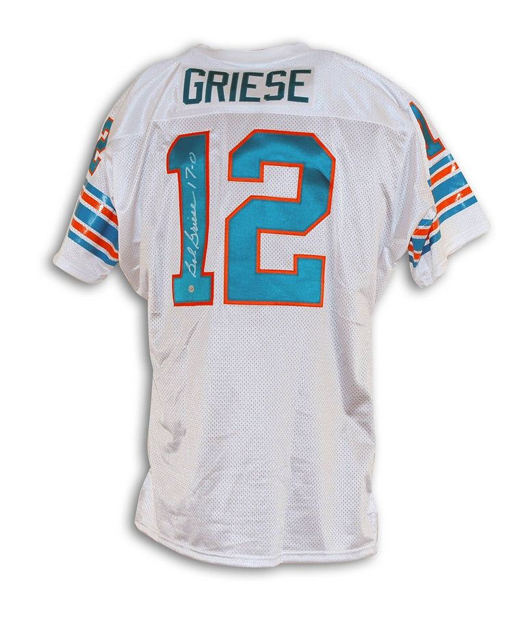 "Bob Griese Miami Dolphins Autographed White Throwback Jersey Inscribed ""17-0"" PSM-Powers Sports Memorabilia"
