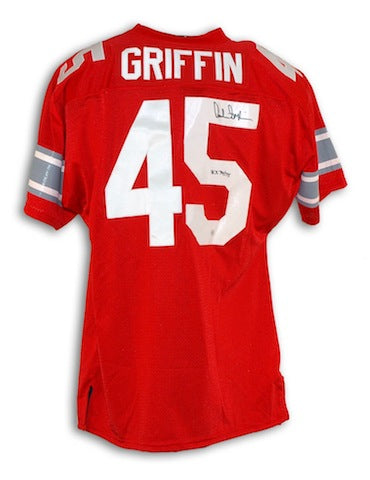 "Autographed Archie Griffin Ohio State Buckeyes Red Throwback Jersey Inscribed ""H.T. 74/75"" PSM-Powers Sports Memorabilia"