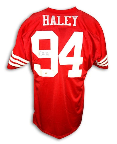 Autographed Charles Haley San Francisco 49ers Throwback Red Jersey PSM-Powers Sports Memorabilia