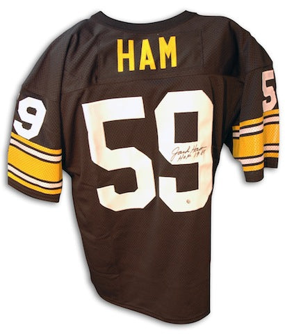 Autographed Jack Ham Pittsburgh Steelers Throwback black Jersey with HOF 88 PSM-Powers Sports Memorabilia