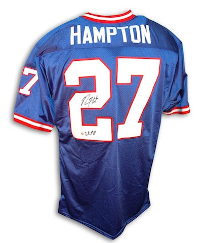 "Autographed Rodney Hampton New York Giants Blue Throwback Jersey Inscribed ""2X PB"" PSM-Powers Sports Memorabilia"