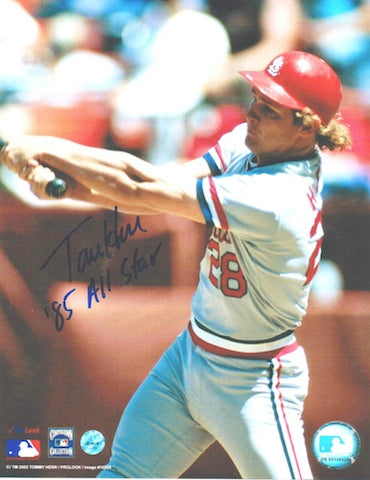 "Autographed Tommy Herr St. Louis Cardinals 8x10 Photo Inscribed ""85 All Star"" PSM-Powers Sports Memorabilia"