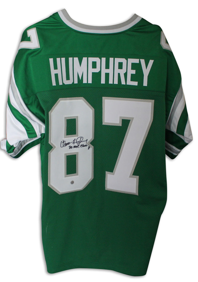 "Claude Humphrey Philadelphia Eagles Autographed Green Jersey Inscribed ""80 NFC Champs"" PSM-Powers Sports Memorabilia"