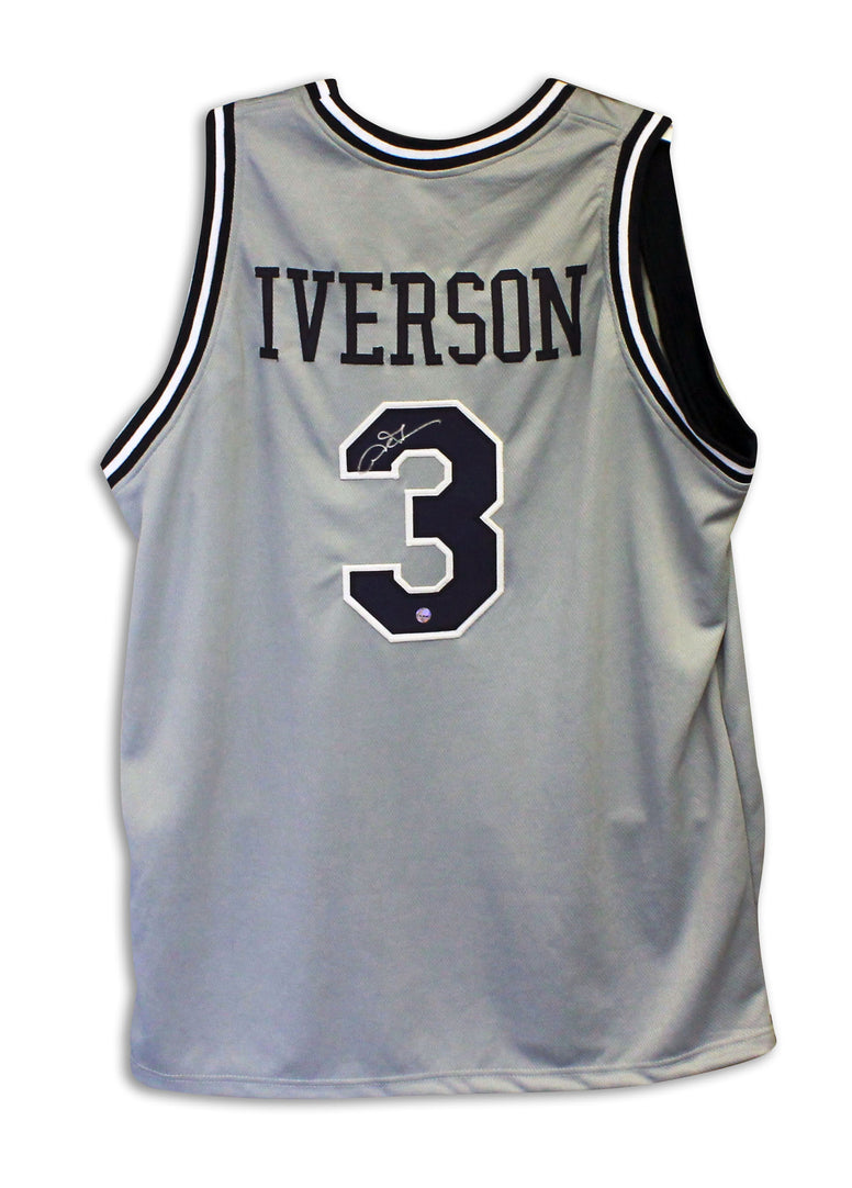 Allen Iverson Georgetown Hoyas Autographed Gray Throwback Jersey PSM-Powers Sports Memorabilia