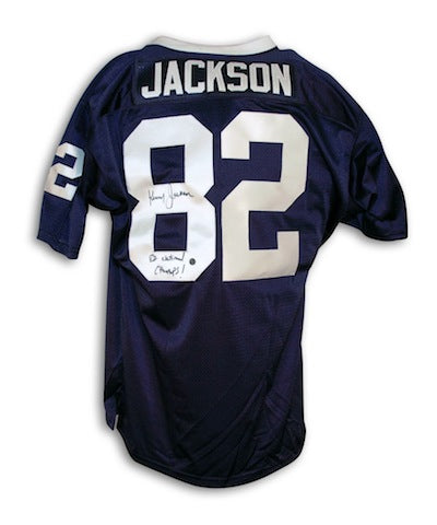 "Autographed Kenny Jackson Penn State University Navy Blue Throwback Jersey Inscribed ""82 National Champs"" PSM-Powers Sports Memorabilia"