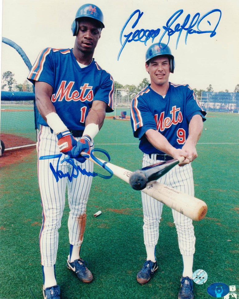 Darryl Strawberry & Gregg Jefferies New York Mets Autographed 8x10 Photo -Posing at Batting Practice- PSM-Powers Sports Memorabilia