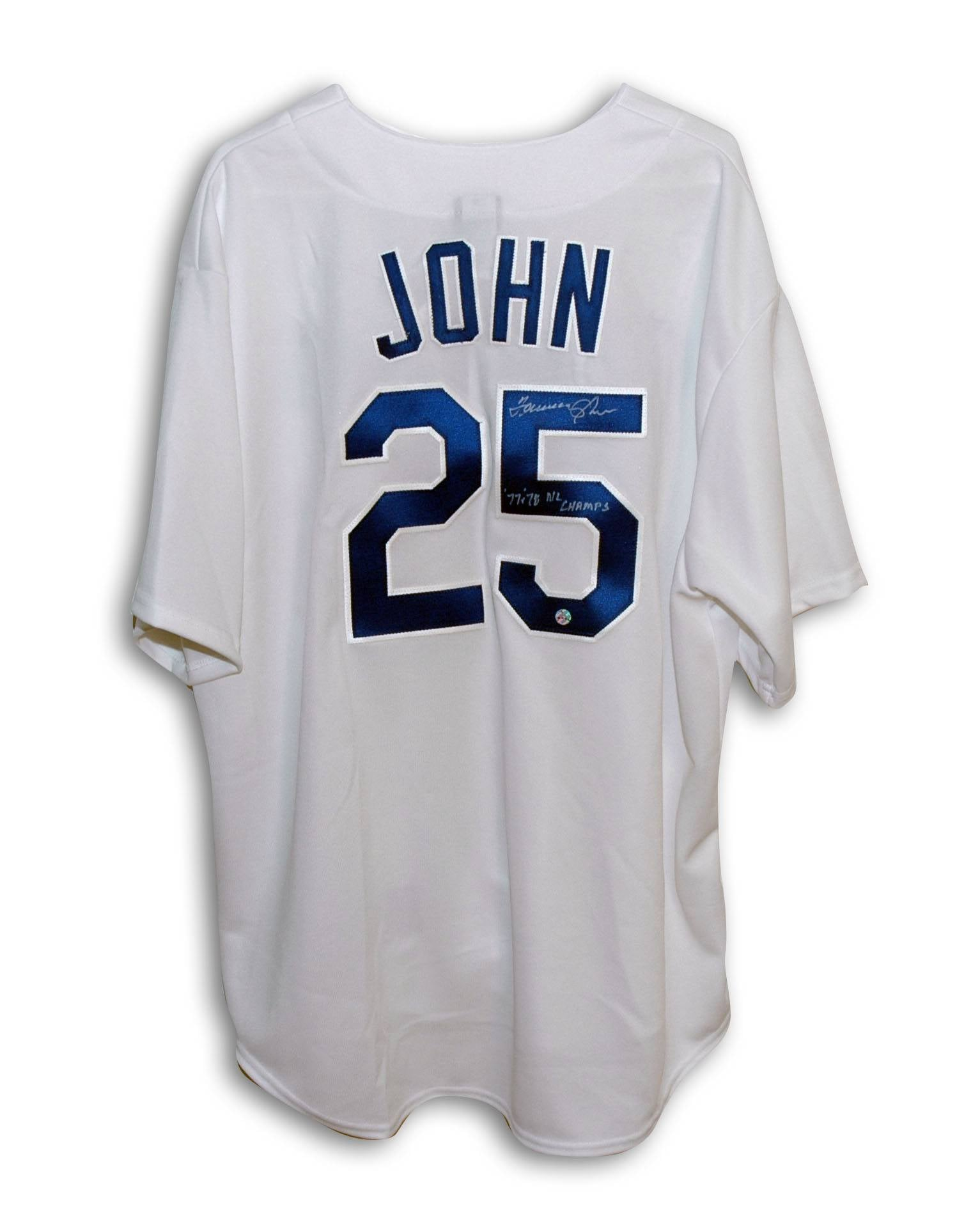 "Tommy John Los Angeles Dodgers Autographed Majestic Jersey Inscribed ""77+78 NL Champs"" PSM-Powers Sports Memorabilia"