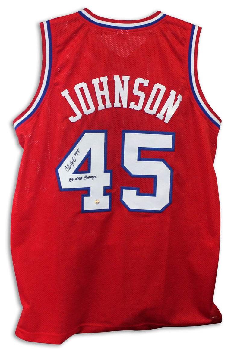 "Clemon Johnson Philadelphia 76ers Autographed Red Jersey Inscribed ""83 NBA Champs"" PSM-Powers Sports Memorabilia"