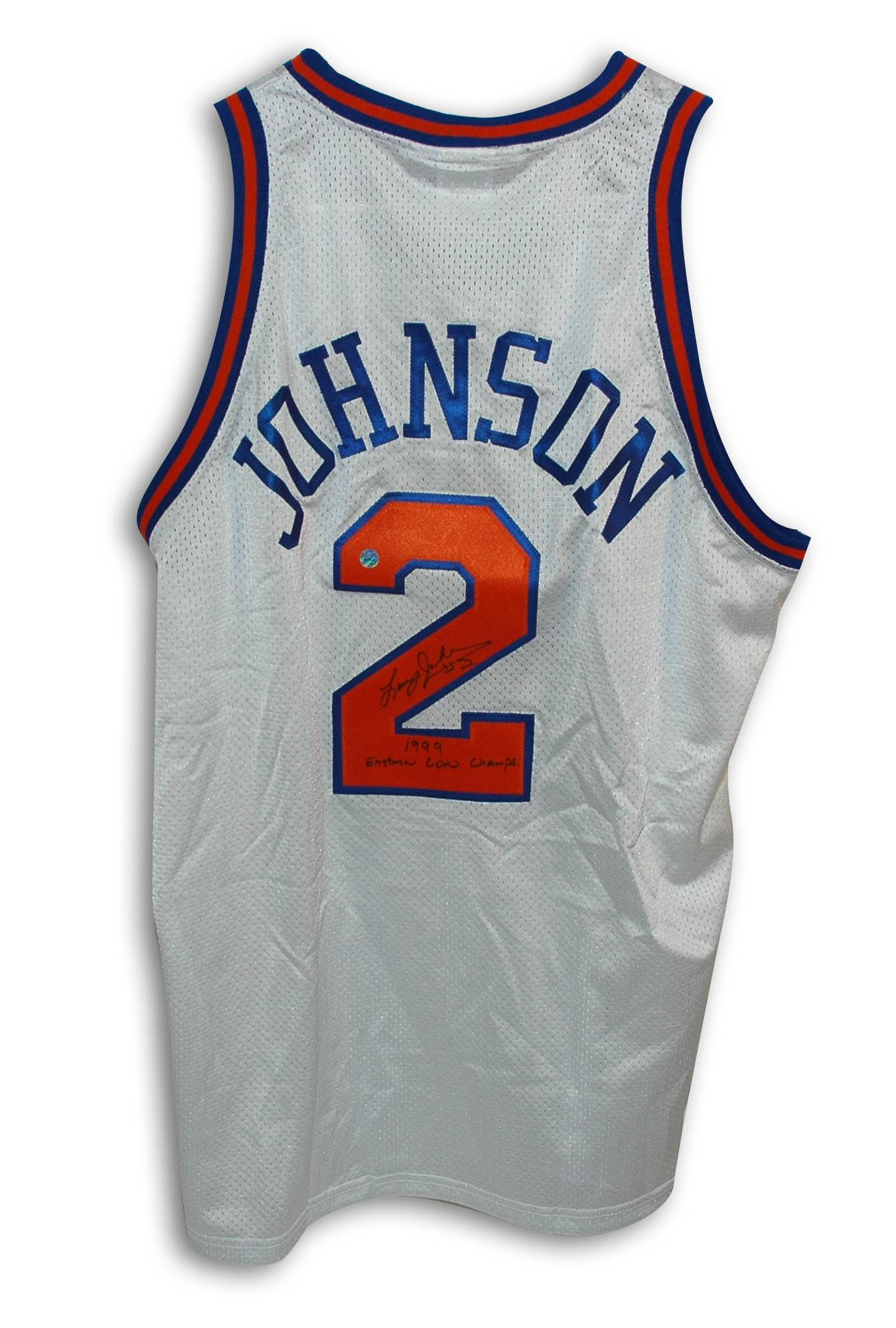 online store b2742 4c783 Larry Johnson New York Knicks Autographed Throwback Jersey Inscribed