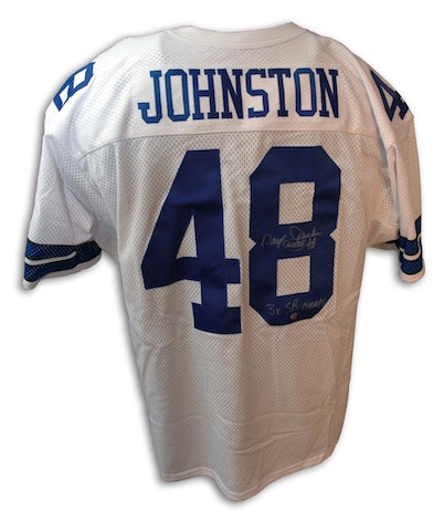 Autographed Daryl Johnston Dallas Cowboys Throwback White Jersey PSM-Powers Sports Memorabilia