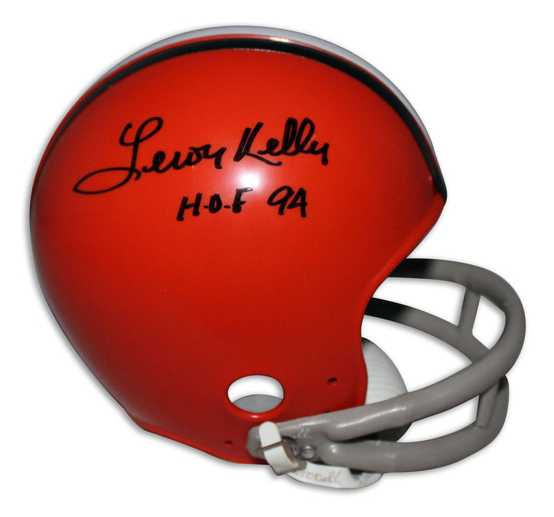 "Leroy Kelly Cleveland Browns Autographed Mini Helmet Inscribed ""HOF 94"" PSM-Powers Sports Memorabilia"