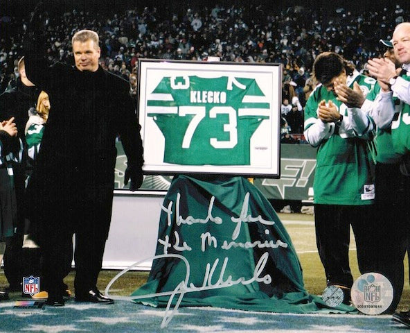 "Autographed Joe Klecko New York Jets 8x10 Photo Inscribed ""Thanks for the Memories"" PSM-Powers Sports Memorabilia"