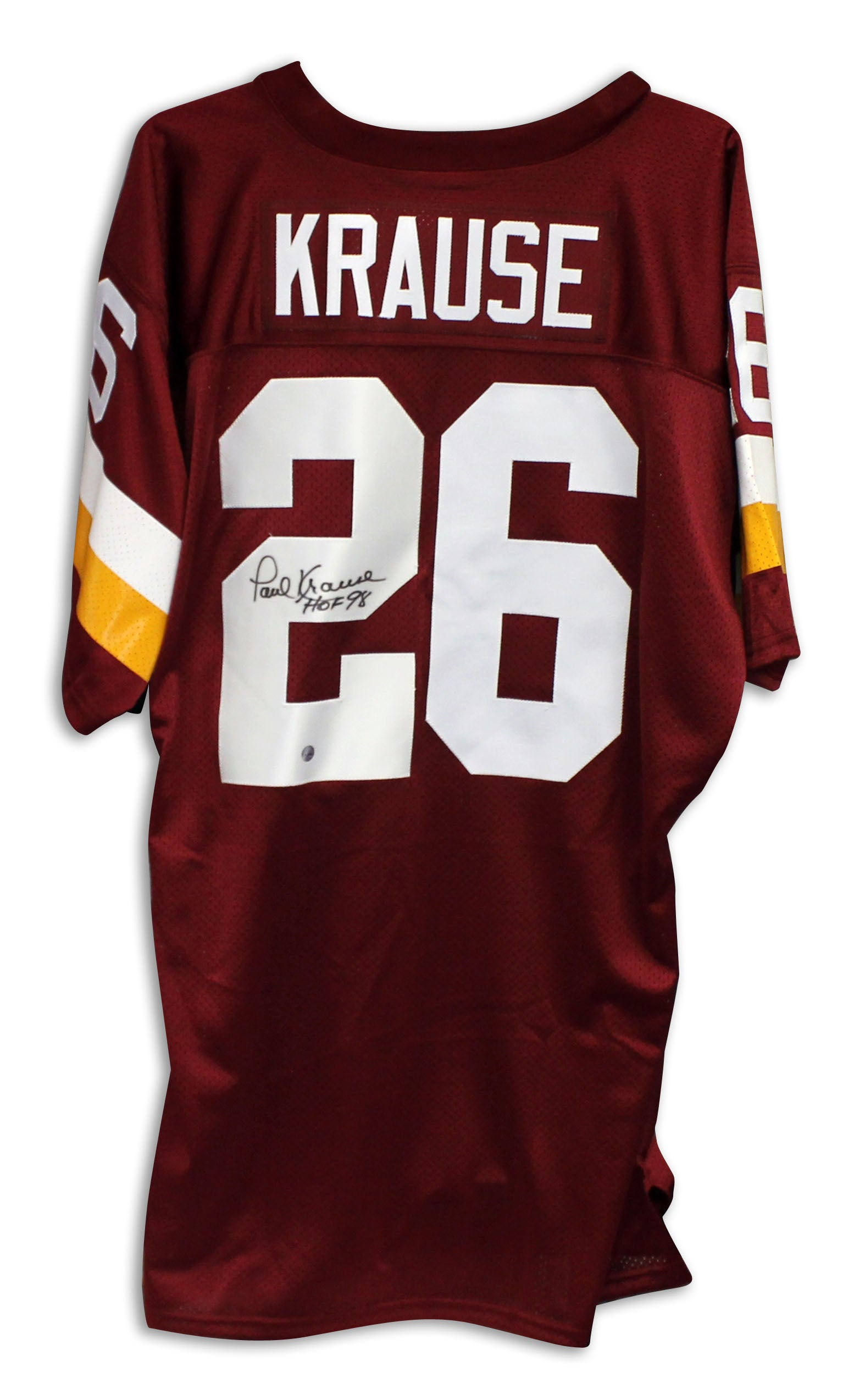 "Paul Krause Washington Redskins Autographed Maroon Jersey Inscribed ""HOF 98"" PSM-Powers Sports Memorabilia"