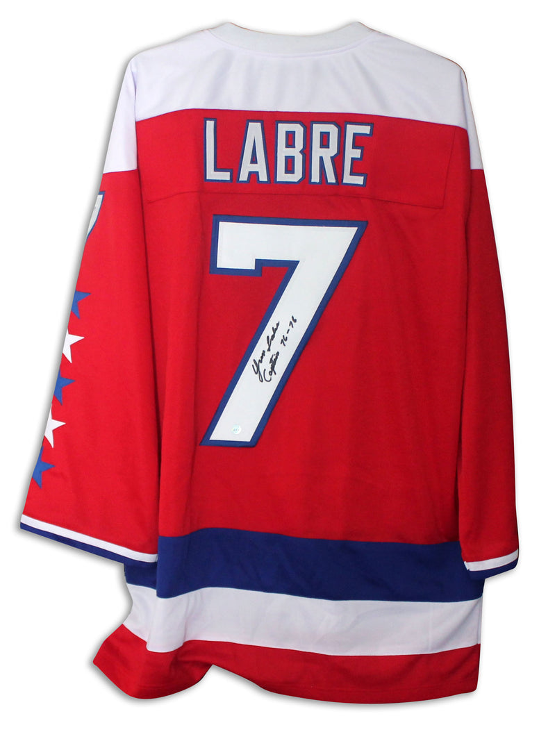 "Yvon Labre Washington Capitals Autographed Red Jersey Inscribed ""Captain 76-78"" PSM-Powers Sports Memorabilia"