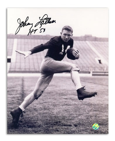 Autographed Johnny Lattner Notre Dame 8x10 Photo Inscribed Heisman 53 PSM-Powers Sports Memorabilia
