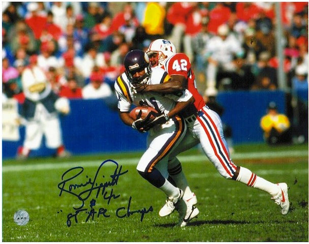 "Autographed Ronnie Lippett New England Patriots 8x10 Photo Inscribed ""86 AFC Champs"" PSM-Powers Sports Memorabilia"