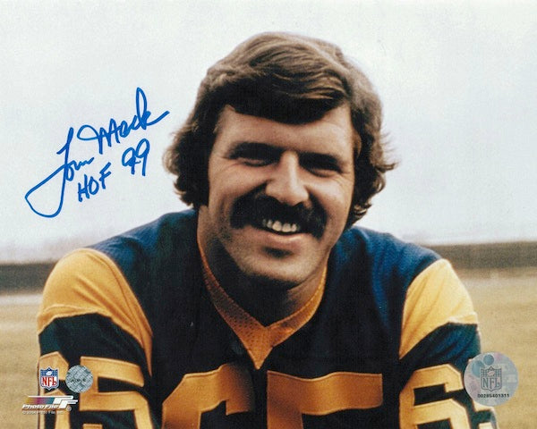 "Autographed Tom Mack Los Angeles Rams 8x10 Photo Inscribed ""HOF 99"" PSM-Powers Sports Memorabilia"