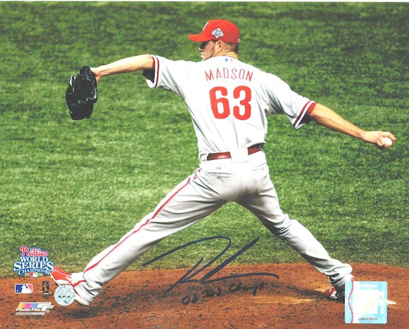 "Autographed Ryan Madson Philadelphia Phillies 8x10 Photo inscribed ""08 WS Champs"" PSM-Powers Sports Memorabilia"