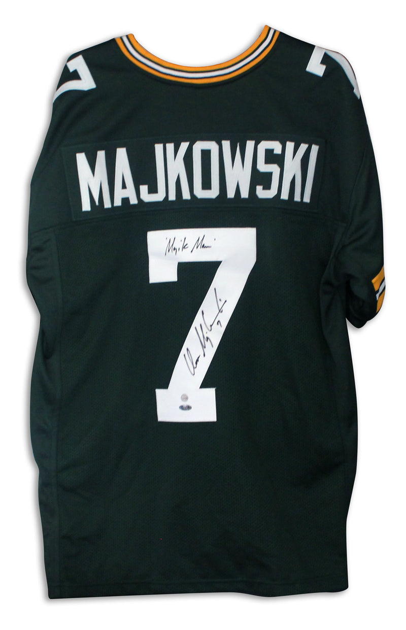 "Don Majkowski Green Bay Packers Autographed Green Jersey Inscribed ""Majik Man"" PSM-Powers Sports Memorabilia"