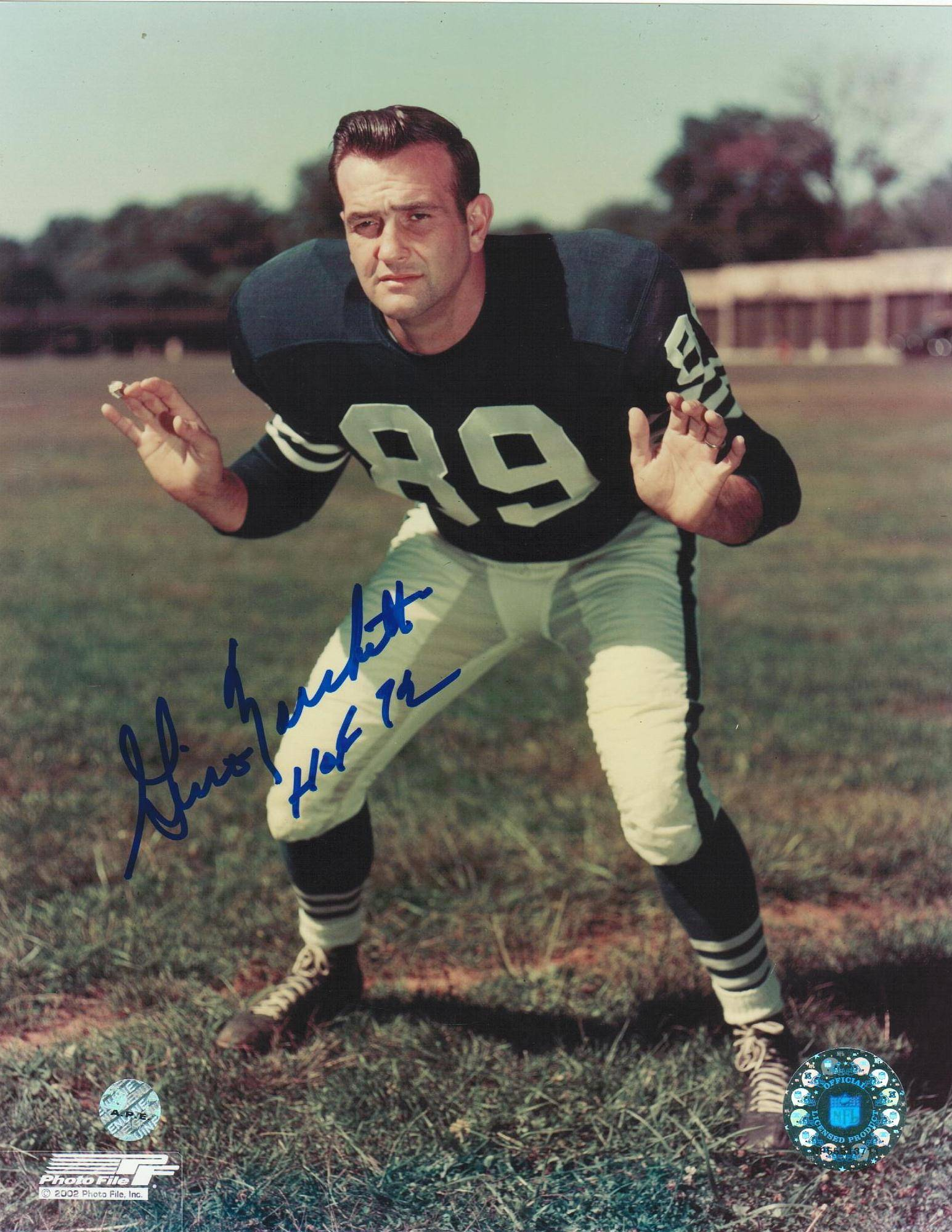 "Gino Marchetti Baltimore Colts Autographed 8x10 Photo Inscribed ""HOF 72"" -Stance- PSM-Powers Sports Memorabilia"