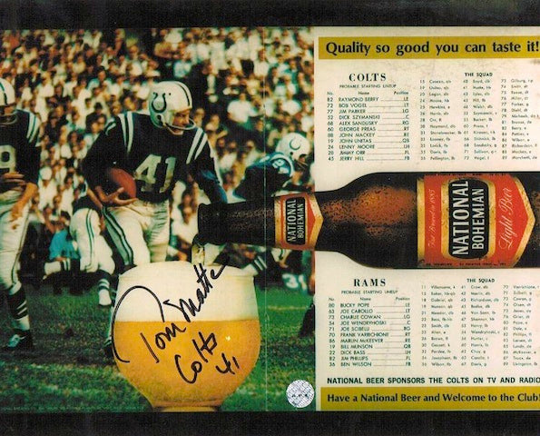 Autographed Tom Matte Baltimore Colts 8x10 Photo from Program PSM-Powers Sports Memorabilia