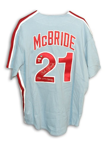 "Autographed Bake McBride Philadelphia Phillies Throwback Blue Majestic Jersey Inscribed ""1980 WS Champs"" PSM-Powers Sports Memorabilia"